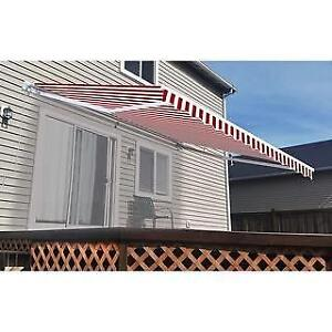 Brand New ALEKO Motorized Retractable Home Patio Awning 10'x8' Red/White DI16