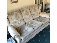 FOR SALE Attractive Traditional Three Piece Dralon Suite Light Beige,