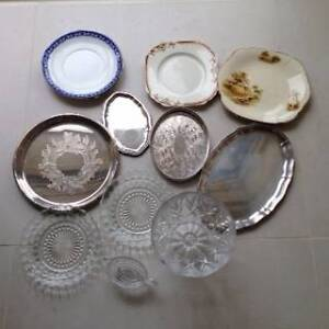 Silver plate trays - crystal bowl - plates Sandy Bay Hobart City Preview