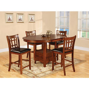 Pub style dining table, 6 chairs/stools