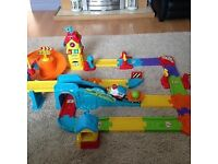 Toot toot train station and cars