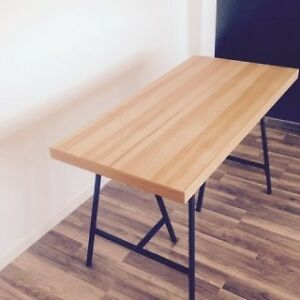 Tornliden Table Top Pine Veneer + Two Lerberg Legs, White IKEA Kingston Kingston Area image 1