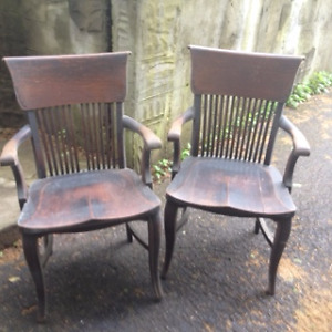 Two solid oak antique chairs