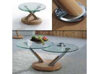 oak /glass coffee table