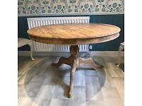 A SOLID PITCH PINE 2/4 SEATER PEDASTAL DINING TABLE & 4 CHAIRS NICE PRE-LOVED CONDITION ,DELIVERY