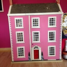PINK FURNISHED DOLLS HOUSE IN GOOD CONDITION