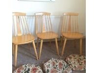 3 Vintage Wooden Dining Chairs