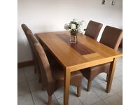Two tone wooden dining room table