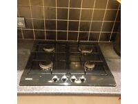 Siemens Gas hob black. 4 burners, 1 large, 1 small and 2 medium.