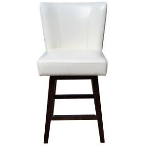R-1223 Swivel Leather Counter Stool in Ivory