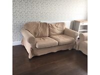Ikea Ektorp 3 seater and 2 seater sofas. Beige with a spare set of dark brown covers.
