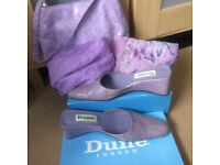 Ladies Dunne Slip on shoes 7/bag & scarves combo
