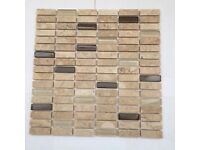 Mosaic sheets in beige, brown and glass 30.5cm square - 19 sheets in total, covers approx 1.75m2