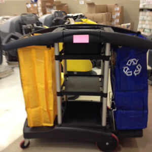 DOUBLE BAG JANITOR'S  CART BLACK