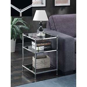 Glass & Chrome End Tables - two