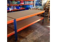 HEAVY DUTY INDUSTRIAL WORK BENCH - WITH TWO SHELVES