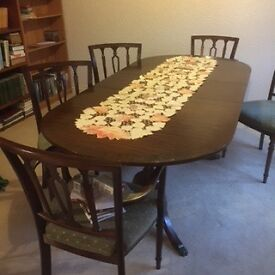 Regency style extending table, 4 Chairs 2 Carver Chairs seat covers in Green Materials