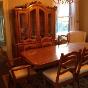 Solid oak dining room set buffet and hutch table and eight chair