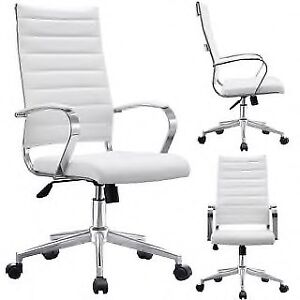 Modern steel and white office chairs swivel