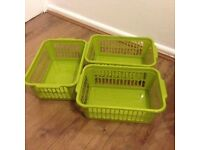 3 Medium Lime Green Plastic Storage Boxes