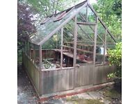 Greenhouse with wood lower and glass upper