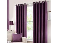 Dunelm Aubergine Blackout Curtains with Curtain Pole and matching Lampshade