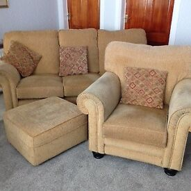 3 Seater Suite,2 Armchairs & matching Footstool. Alstons make purchased from Forrest Furnishings.