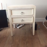 white end table/bed side table