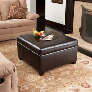Black Quilted Ottoman