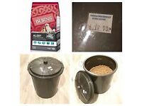 Burns Alert Chicken and Rice Adult Dog Food and Container