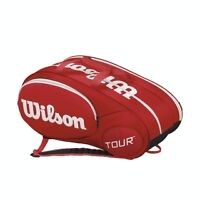 WILSON TOUR 6 PACK RED/WHITE TENNIS BAG - NEW