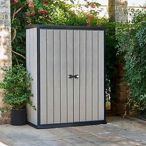 Keter High Store Grey Wood-Look Outdoor Vertical Storage Shed