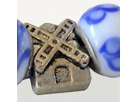 Lost charm bracelet, Tavistock, blue and white with windmill and bicycle, from Holland