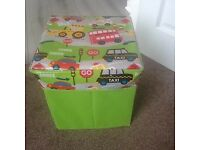 Cars and vehicles green kids toy storage box cube with lid - good condition