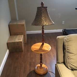 Two, Maple Hardwood End Tables and Lamps