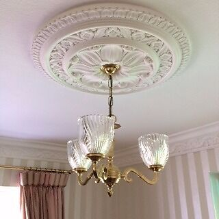 2 solid brass three branch ceiling lights with glass shades in excellent condition