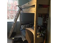 Child's cabin bed with desk, chair and cushions