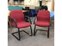 Red Cantilever Chair with Arms