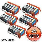 5x Set Canon PGI-525 & CLI-526 MET CHIP compatible € 35,00