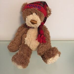 Holiday Fossil Teddy Bear With Red Scarf & Hat