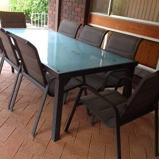 Aluminium glass table plus chairs. Seats 8 Dianella Stirling Area Preview