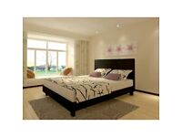 ** 14 DAYS MONEY BACK GUARANTEE ** Kingsize Leather bed with Dual sided Semi Orthopedic Mattress -