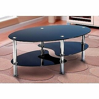 Excellent condition black glass coffee table