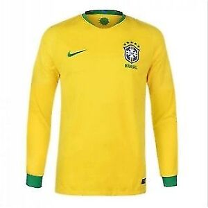 Brazil Home Long Sleeve 2018 Official Nike Jersey On Sale