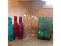 Collection of vases and glass bottles