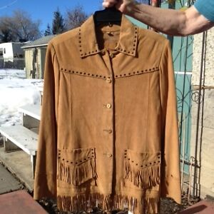 Brown leather western jacket with fringe