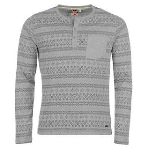 Lee Cooper Long Sleeved Aztec Granddad T Shirt Mens Top. New, all sizes XS-XXL