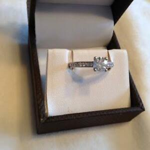 Engagement ring 14kt white gold .89 total carat /size 6 Peterborough Peterborough Area image 2