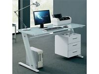 White Glass Computer Desk with Draws