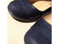 Ladies shoes - Hotter, size 5, navy, slip-on ballerina style, as new.